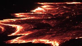 Lava flow of Volcano Erta Ale stock video footage