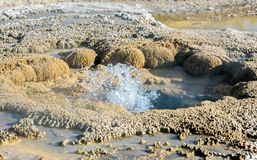 Bubbling water in geyser pool in Yellowstone National Park stock photos