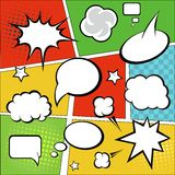 Bubblor för komisk remsa och komikeranförandepå färgrikt royaltyfri illustrationer