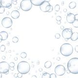 Bubblor för vitt vatten med reflexion ställde in vektorillustrationen vektor illustrationer