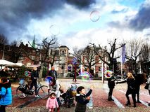 Bubblor i Amsterdam arkivbilder