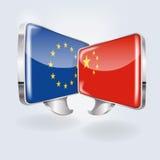 Bubblor med Europa och Kina vektor illustrationer