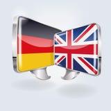 Bubblor med tyskt och engelskt Arkivbild