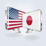 Bubblor och anförande i japan och amerikan Arkivfoto