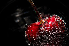 Bubbly Cherry. Cherry in Club Soda Edgy Drink royalty free stock photo