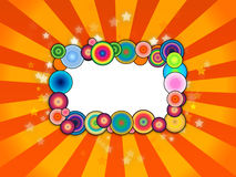 Bubbly Frame on Orange Background. A colorful frame on orange and yellow rays background Stock Photos