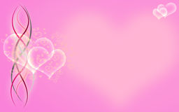 Bubbly hearts and ribbons on pink background. Floating white graphic hears with ribbons on pink background Royalty Free Stock Photos