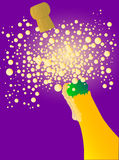 Bubbly New Year. Champagne bottle being opened with froth and bubbles royalty free illustration