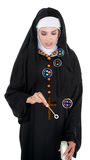 Bubbly Nun Stock Photo