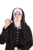 Bubbly Nun Royalty Free Stock Photography