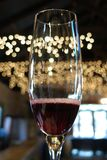 Bubbly red wine in champagne flute with twinkling lights Royalty Free Stock Photos
