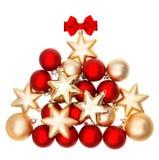 发光的bubles形状的圣诞树 红色和金黄球 免版税库存图片