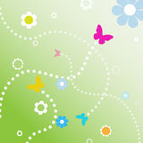 BuButterflies dotted line paths spring flowers. Butterflies fly dotted line paths on spring flowers in abstract background Stock Photo