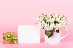 Bucaneve, nota in bianco, contenitore di regalo nota, fiori e regalo immagine stock libera da diritti