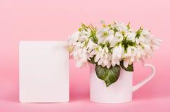 Bucaneve, nota in bianco, fiori bianchi e nota romantica immagine stock libera da diritti