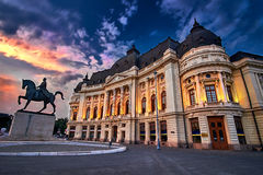 Bucarest al tramonto Fotografia Stock Libera da Diritti