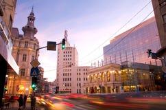 Bucarest en la puesta del sol Fotos de archivo libres de regalías