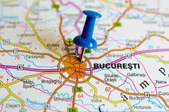 Bucarest en mapa fotos de archivo libres de regalías