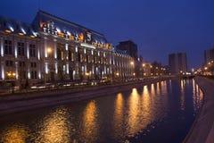 Bucarest entro la notte Fotografie Stock