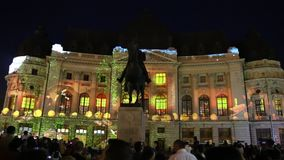 Bucarest, festival de las luces 2018 almacen de video