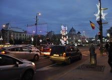 Bucarest, il 1° dicembre 2015: Luci di Natale di notte da Bucarest in Romania Immagini Stock