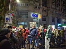 Bucarest protestation victoriei de piata en janvier 2017 Photographie stock