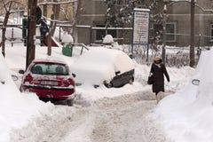 BUCAREST ROUMANIE - 14 février : Anomalies de temps Images libres de droits