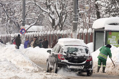 BUCAREST ROUMANIE - 14 février : Anomalies de temps Photographie stock