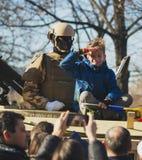 BUCAREST, ROUMANIE, LE 1ER DÉCEMBRE : Défilé militaire le jour national de la Roumanie, Arc de Triomphe, le 1er décembre 2013 à B Photos stock