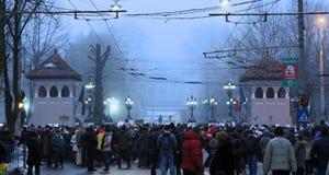 Bucarest, Roumanie - protestation contre le Président Klaus Iohannis images libres de droits