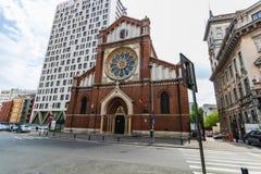 Bucarest, Roumanie - 2019 St Joseph Catholic Cathedral ou Catedrala Sf Iosif à Bucarest la visite de pape Francisc dedans images libres de droits