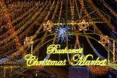 Bucarest, Rumania - 25 de diciembre: Mercado de la Navidad de Bucarest encendido Fotografía de archivo