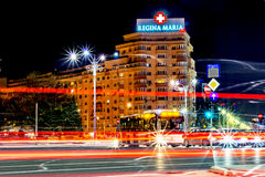 Bucarest, Rumania - 01 04 2017, rastros de la noche, Regina Maria imagenes de archivo