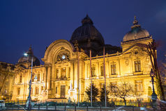 Bucarest, scena di notte di CEC Palace Immagine Stock Libera da Diritti