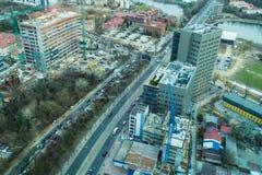 Bucarest - vista aerea del lato nord fotografie stock libere da diritti