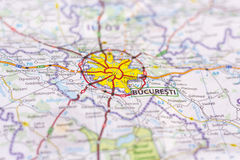Bucareste em um mapa Fotos de Stock Royalty Free