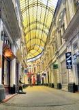 Bucareste - o vidro cobriu a rua Fotos de Stock Royalty Free