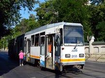 Bucareste, Romênia: Bonde Imagens de Stock