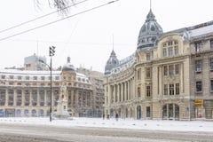 Bucareste, Romênia - 17 de janeiro: Quadrado da universidade o 17 de janeiro fotos de stock royalty free