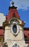 Bucareste, Romênia: Torre com janela decorativa Imagens de Stock