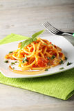 Bucatini Amatriciana, with parmesan cheese, tomato and bacon. On complex background Royalty Free Stock Images