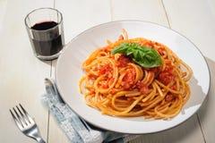 Bucatini Amatriciana - Pasta amatriciana Royalty Free Stock Photos
