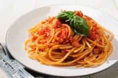 Bucatini Amatriciana - Pasta amatriciana Stock Photos