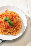 Bucatini Amatriciana - Pasta amatriciana Stock Images