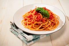 Bucatini Amatriciana - Pasta amatriciana Stock Photo