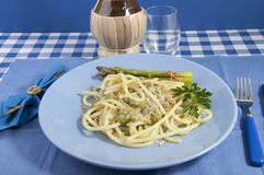 Bucatini with asparagus Royalty Free Stock Photo