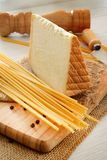 Bucatini and cheese Royalty Free Stock Photo