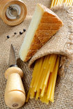 Bucatini and cheese Stock Image
