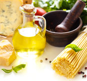 Bucatini and ingredients. Stock Photography