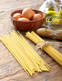 Bucatini - Italian raw pasta Royalty Free Stock Images